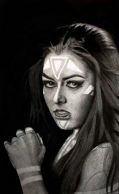 art drawing portrait woman eyes