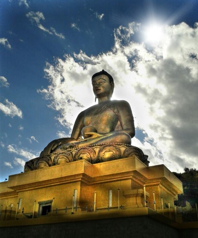 Buddha point..Bhutan.. re post for #statue temp post #yellow#lowangle