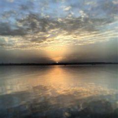 reflection sky sun sea