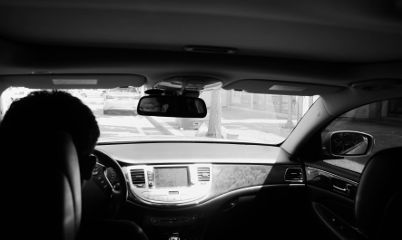 father travel photography blackandwhite inthecar
