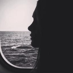 sea silence black profile girl