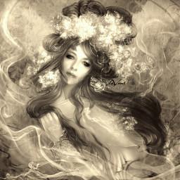 myedit fantasyart beauty princess editstepbystep picsarteffects sepia retro